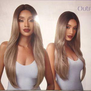 Dark rooted blonde human hair blend wig